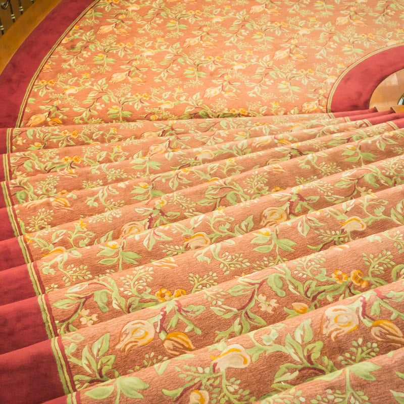 Close up of Staircase covered with carpet